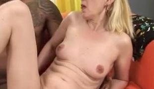 Blond Granny Fucks Dark Cock