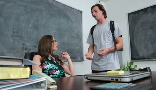 Horny teacher deepthroating handsome college student's cock