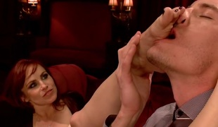 2 sexy foot maids tease fuck and footjob their boss