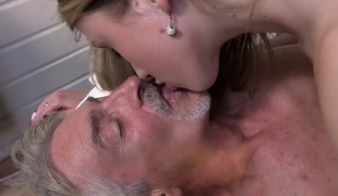Perverted slim girl gives grandpa full erotic massage