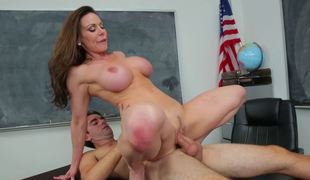 A milf teacher is teasing her student with her in nature's garb flesh
