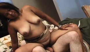 Concupiscent Asian milf with a big ass gets nailed hard by a young stud