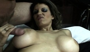 Busty brunette chews on his bone and receives the one and the other fuck holes tapped