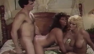 Classic porn trio with two babes doing him and every other