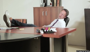 Blond babe forces her juvenile co worker to screw her hard