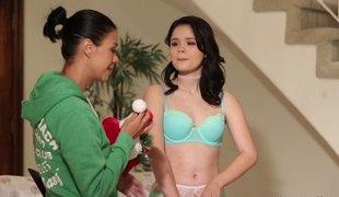 Ravishing lingerie set on a cutie fucking a tattooed lesbo playgirl