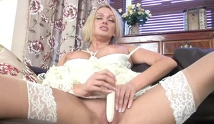 Romantic white lingerie on a sextoy screwing milf