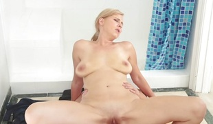 FamilyStrokes - Blonde Milf Copulates Step-Son In Shower