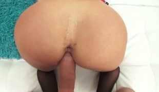 Mick Blue makes Well-stacked hussy Kat Dior with juicy hooters suck his thick meat stick non-stop after she gets assfucked