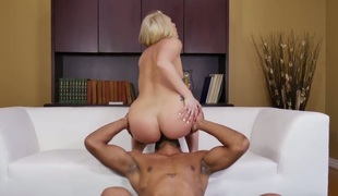 Blonde AJ Applegate with phat booty and her slutty fuck buddy are in the mood for fucking