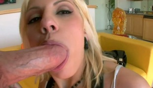 Blond Lylith Lavey cant live a day without taking vertical meat stick in her hands