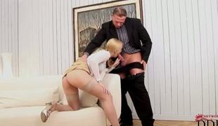 Blonde Misty Mild satisfies mans sexual needs and then gets overspread in cum