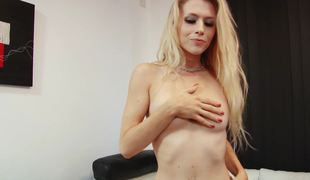 A blonde removes her raiment and then this babe sucks a big dildo