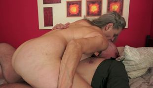 A granny with saggy love bubbles and a hairy cum-hole is fucked really hard