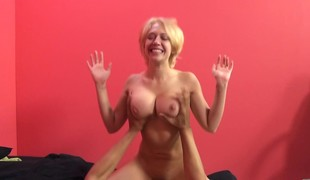 Stacked golden-haired nympho Kagney Linn Karter takes a big cock for a ride