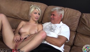 Breathtaking blonde with a heavenly ass Stevie Shae worships a long stick