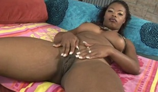 Lovely pornstar with natural tits giving large dark pecker blowjob in closeup shoot
