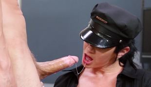 A hot security guard chick is getting fucked hard in the office