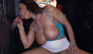 Bewitching chick is hungry for facial jizz flow delights