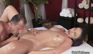 Stretched honey screwed after massage