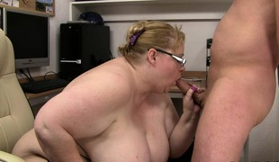 Office sex with biggest titted fatty