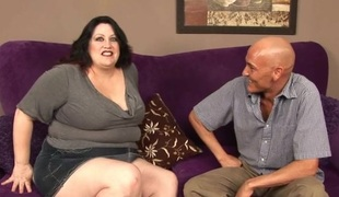 Big tittied chunky woman is performing really great oral pleasure