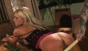 blonde lingerie fingring ass leketøy