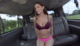 Hot bimbo with pretty smile Molly Jane rides a sybian in car