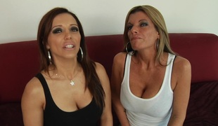 Breasty sweetheart with large fake melons getting screwed in a hardcore ffm 3some
