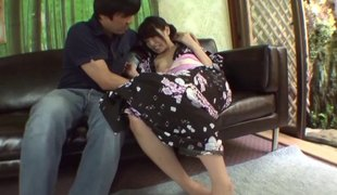 Thick ramrod sucked until it cums by the Japanese kimono angel