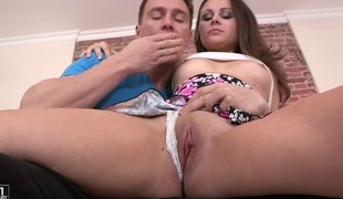 Rigid mushroom explores the one and the other holes of the sexy Alina