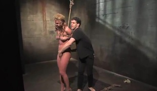 Tempting Blonde has tied Up And appreciates A xxx toy regarding Her brown tunnel