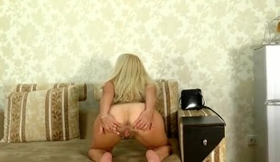Vivacious solo older golden-haired dancing for you